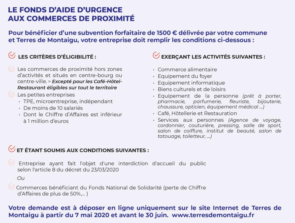 Infographie : critères d'éligibilité au fonds d'aide d'urgence mis en place par Terres de Montaigu pour les commerces de proximité