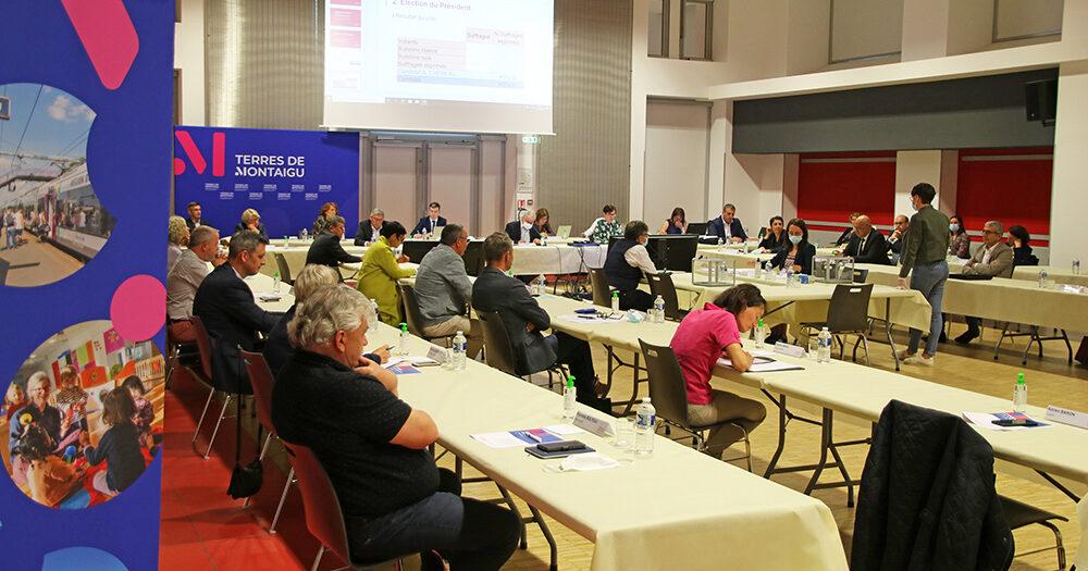 Photo du conseil communautaire de Terres de Montaigu, le 8 juin 2020.