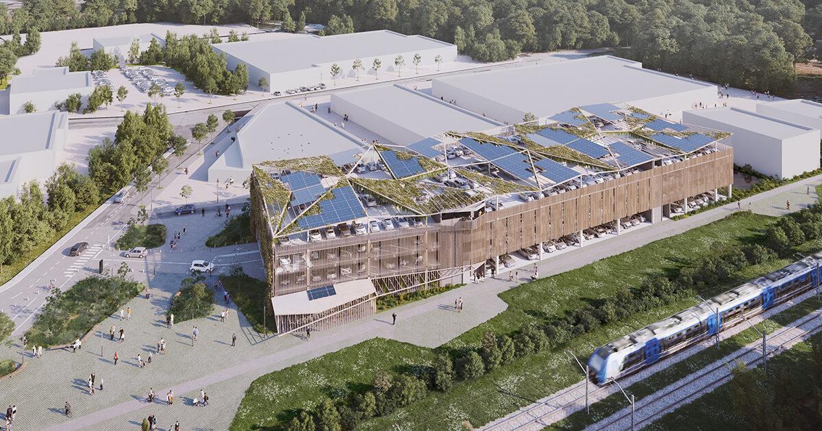 Vue 3D : projet de parking gratuit à étages, gare de Montaigu-Vendée