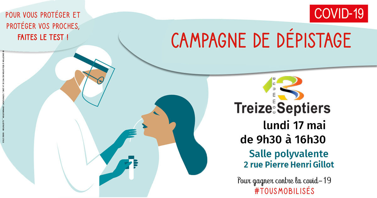 Image : Campagne de dépistage Covid-19 - Mai 2021 - Treize-Septiers